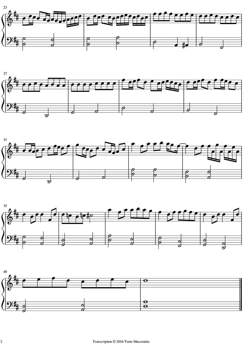 Bản nhạc piano đơn giản - Canon in D