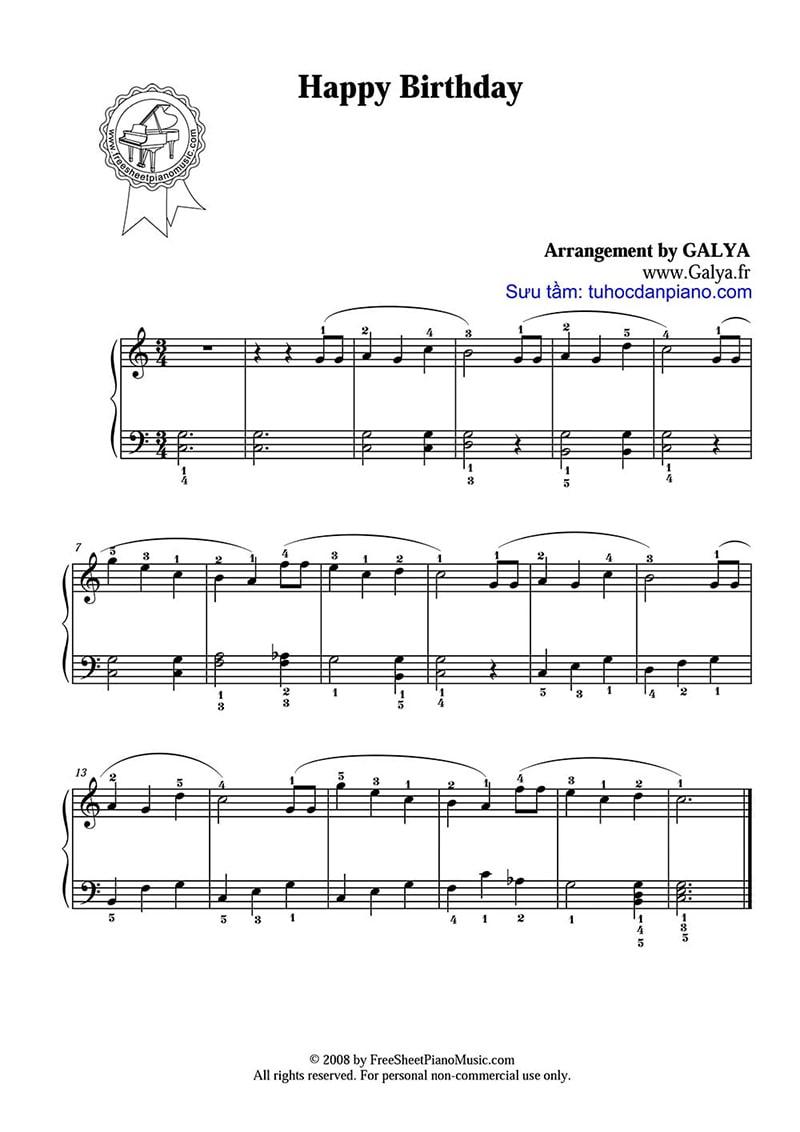 Bản nhạc piano đơn giản - Happy birthday