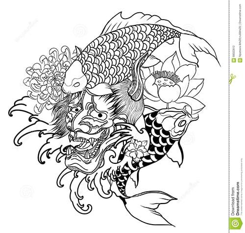 Mẫu thiết kế hình xăm cá chép và hoa sen đẹp