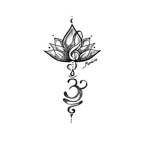 Hình xăm hoa sen chữ Phạn