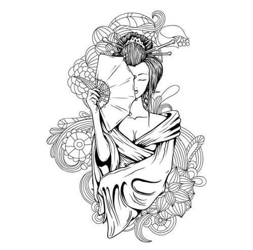Mẫu thiết kế hình xăm Geisha cầm quạt