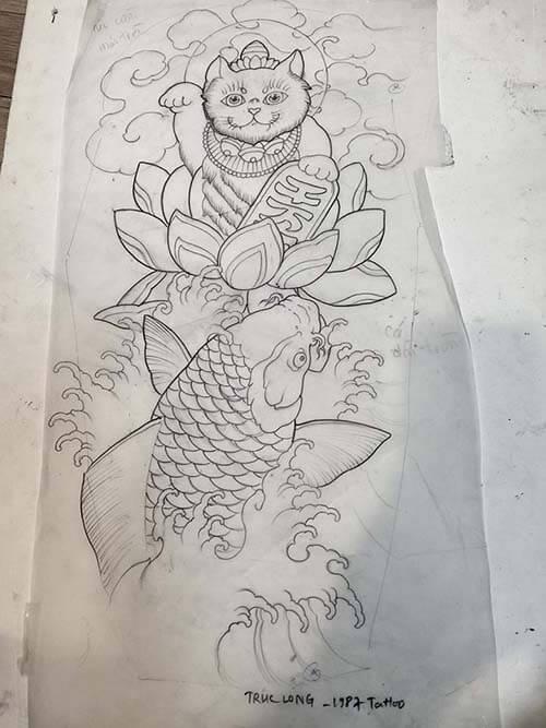 Mẫu tatoo mèo thần tài cá chép