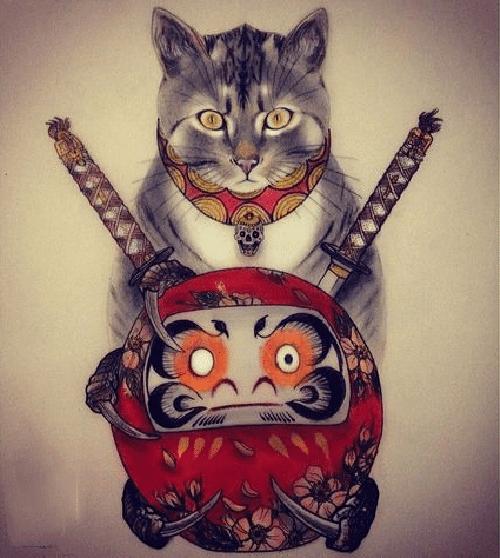 Hình xăm mèo thần tài và daruma
