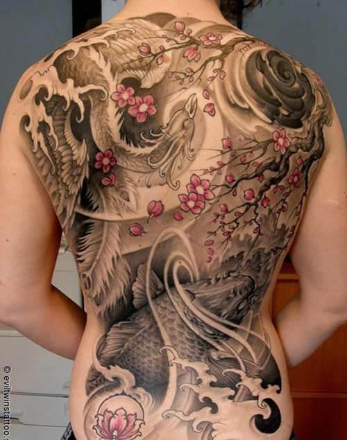 Hình xăm Nhật cổ kín lưng