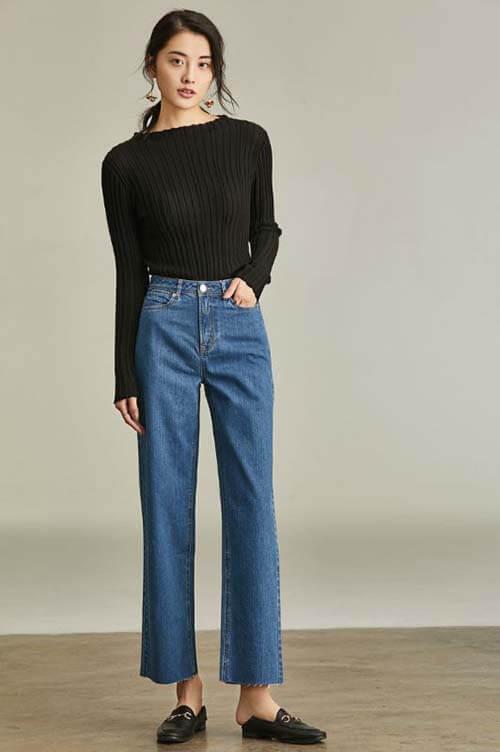 Cách phối đồ với quần jean ống rộng
